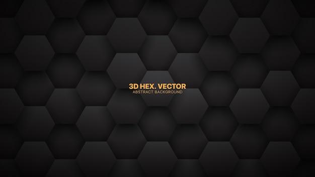 Technologischer d-sechseck-minimalistischer schwarzer abstrakter hintergrund Premium Vektoren