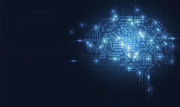 Technologisches gehirn Premium Vektoren