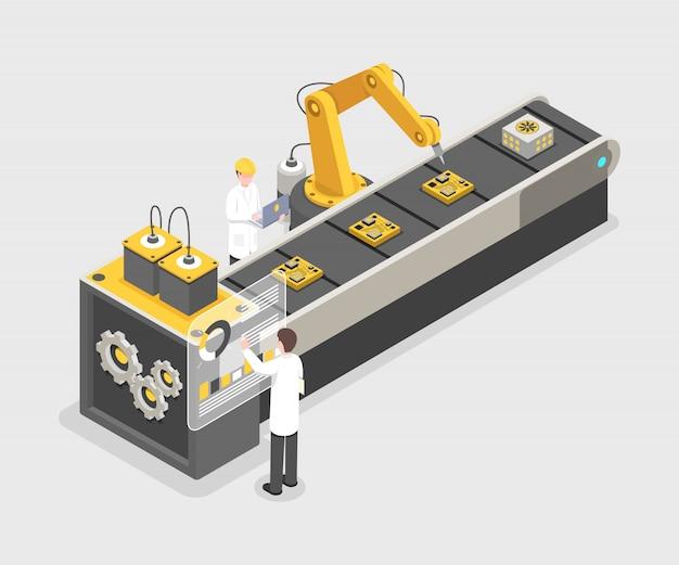 Technology gadget montagelinie, herstellungsprozess. ingenieure arbeiten an industrieanlagen Premium Vektoren