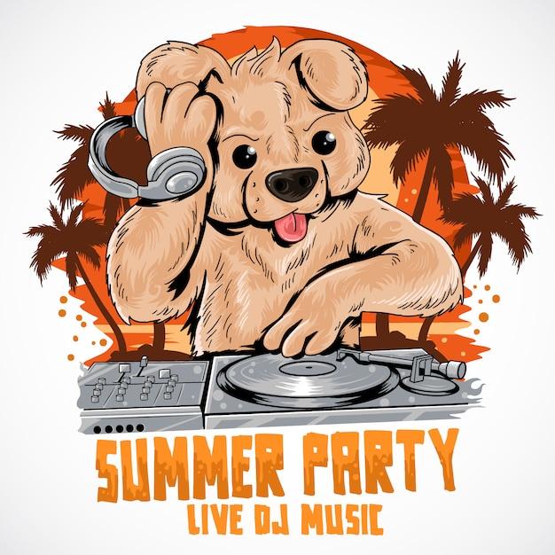 Teddy bär dj-musik-sommerparty-kokos-baum Premium Vektoren