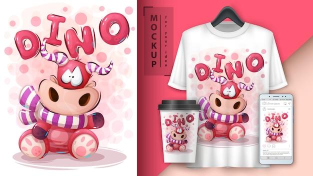Teddy dino illustration und merchandising Premium Vektoren