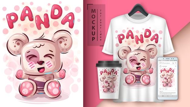 Teddy panda poster und merchandising Premium Vektoren