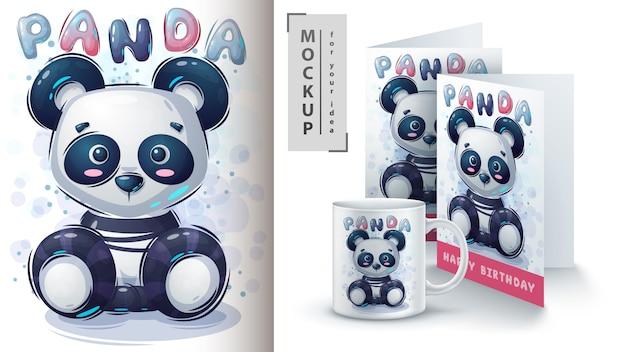 Teddy panda poster und merchandising Kostenlosen Vektoren