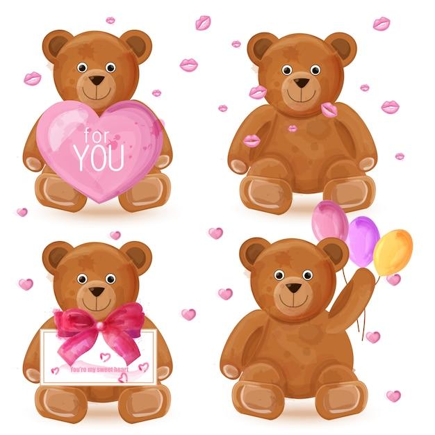 Teddybär-aquarellsatz Premium Vektoren