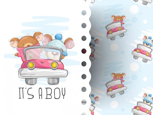 Teddybären fahren mit hintergrundmuster Premium Vektoren
