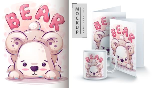 Teddybärillustration für karte und merchandising Premium Vektoren