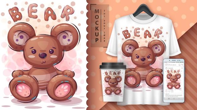 Teddybärplakat und merchandising Premium Vektoren