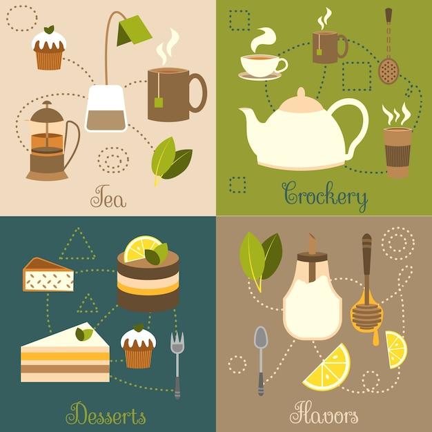 Tee-geschirr desserts aromen flachen satz isoliert vektor-illustration Kostenlosen Vektoren