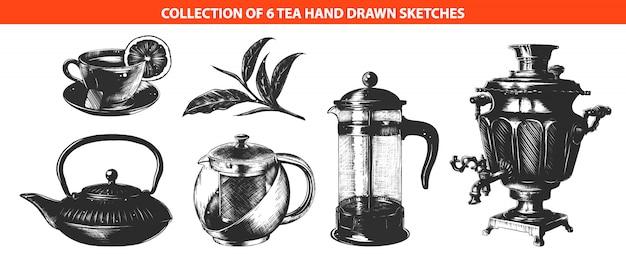 Tee-getränkesammlung mit graviertem stil Premium Vektoren