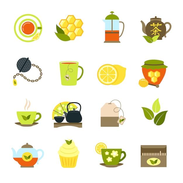 Tee icons set Kostenlosen Vektoren