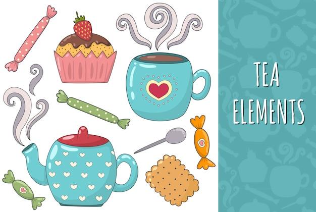Tee lokalisierte elementsammlung. gemütliches set. becher, teekanne, keks, muffins und süßigkeiten. Premium Vektoren