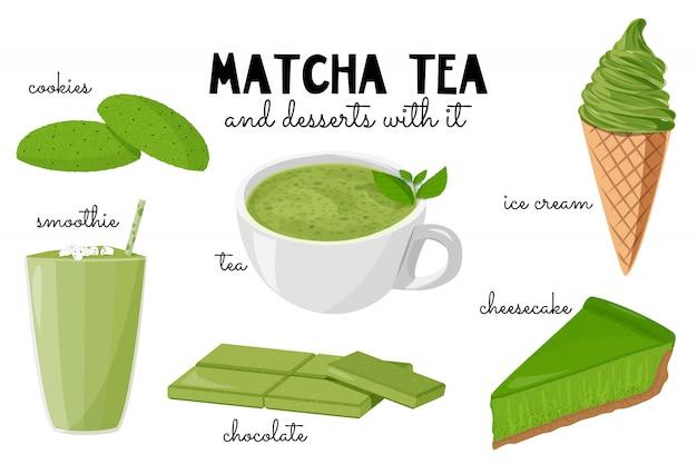 Tee matcha und desserts dazu. Premium Vektoren