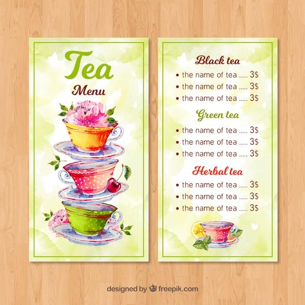 Tee-menü-vorlage mit aquarell-stil Kostenlosen Vektoren