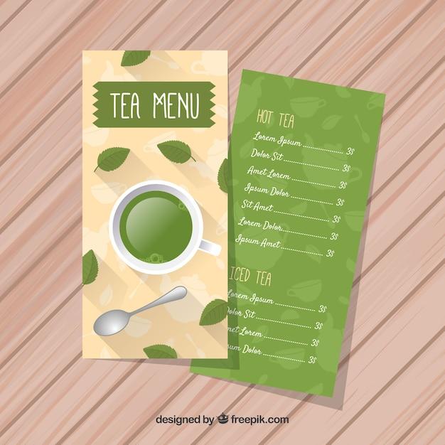 Tee-menü-vorlage mit flaches design Kostenlosen Vektoren