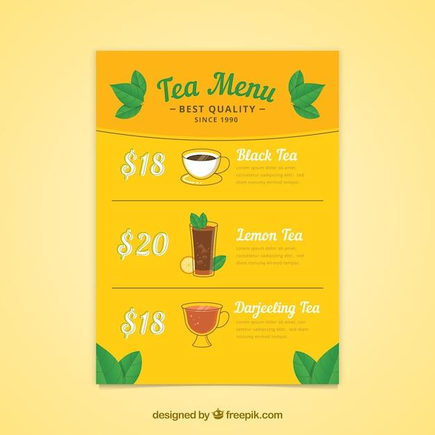 Tee-menü-vorlage mit getränken liste Kostenlosen Vektoren