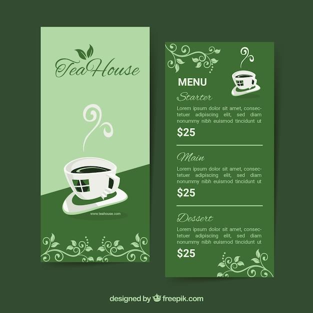 Tee menüvorlage in flachen stil Kostenlosen Vektoren