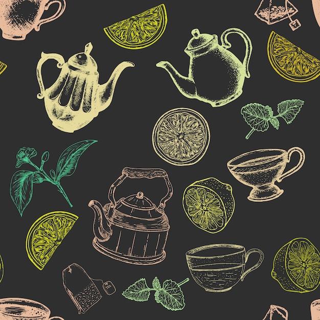 Tee nahtlose muster Premium Vektoren