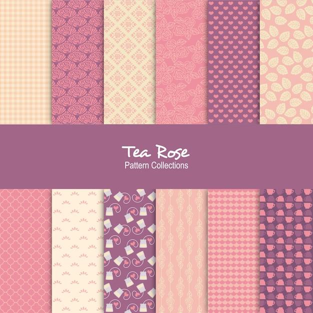 Tee rose muster set Premium Vektoren