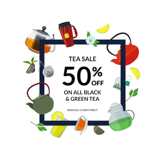 Tee trinken rahmen. cartoon teekessel und tassen Premium Vektoren