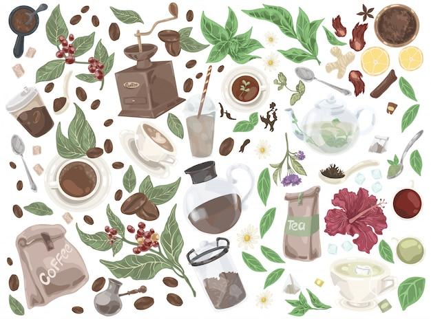 Tee und kaffee doodle set. Premium Vektoren