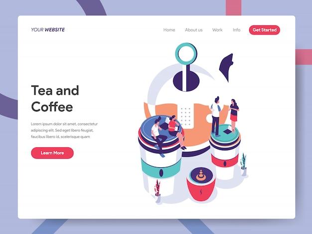 Tee- und kaffeebanner für website-seite Premium Vektoren