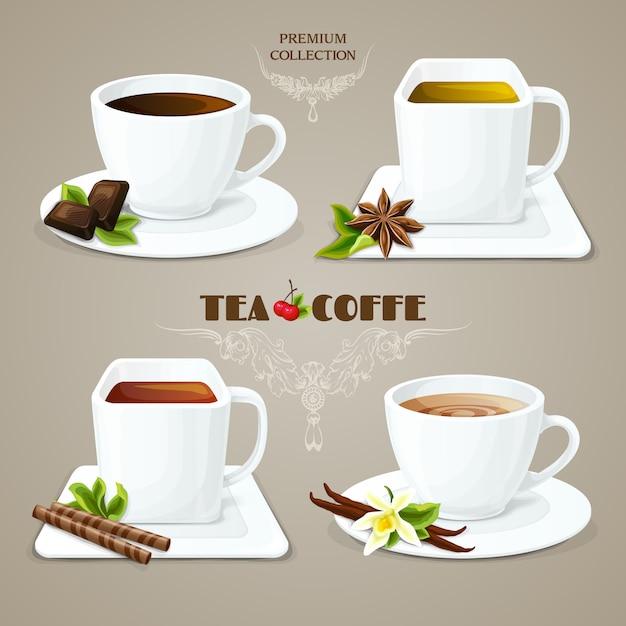 Tee- und kaffeetassen eingestellt Kostenlosen Vektoren