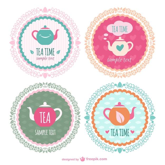 Tee-Zeit-Aufkleber-Vorlagen | Download der kostenlosen Vektor