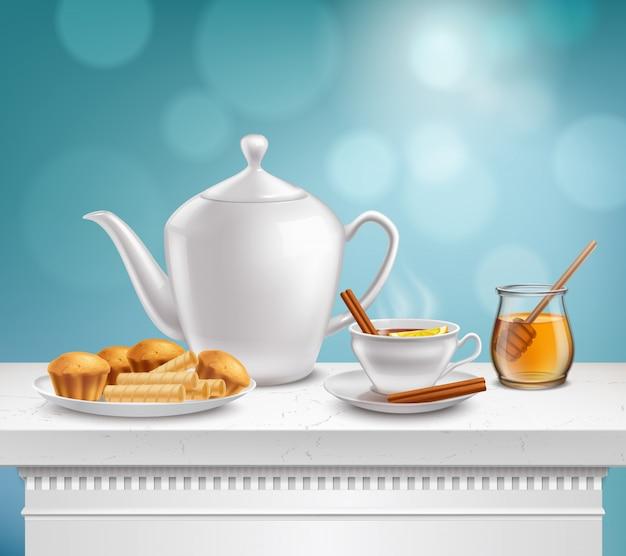 Teekanne honey jar realistic set Kostenlosen Vektoren