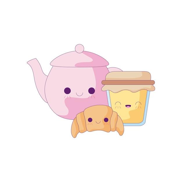 Teekanne mit kawaii art des satzlebensmittels Premium Vektoren