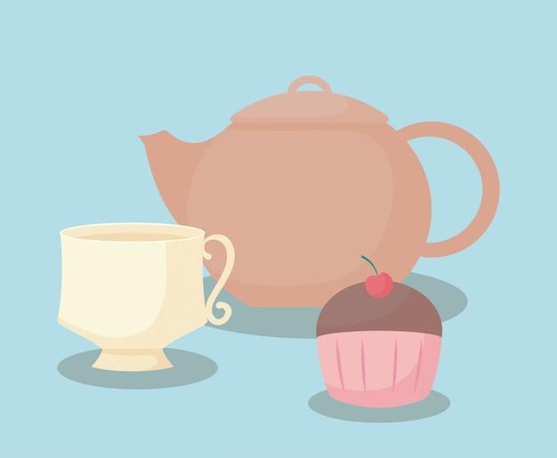 Teekanne mit süßem cupcake Premium Vektoren