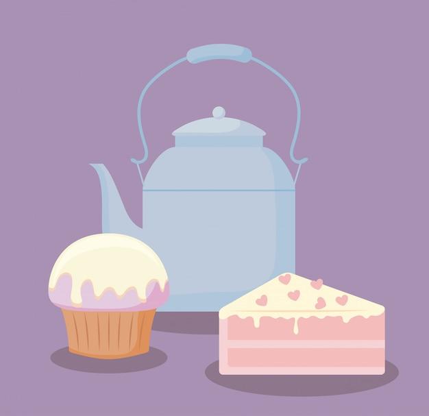 Teekanne mit süßem kuchenteil Premium Vektoren