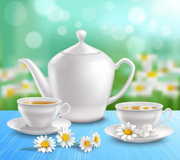 Teekanne und tassen zusammensetzung Kostenlosen Vektoren