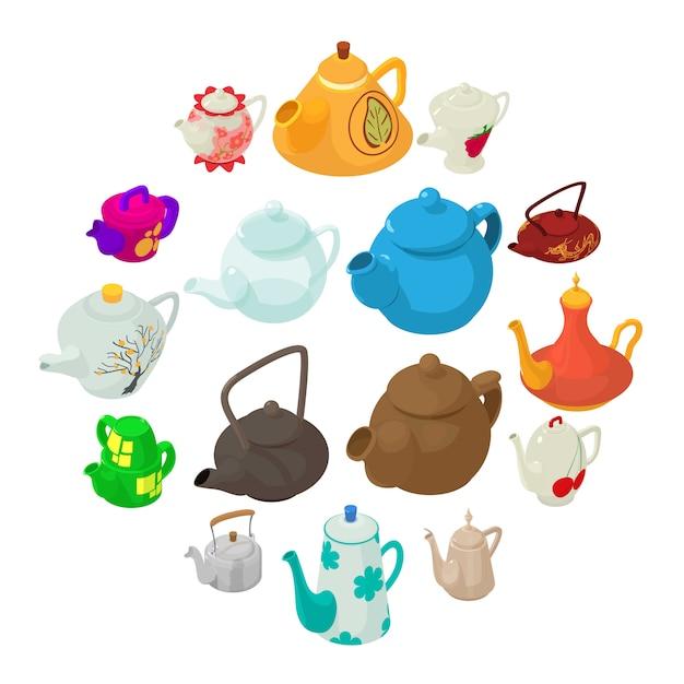 Teekannenikonen eingestellt, isometrische art. Premium Vektoren