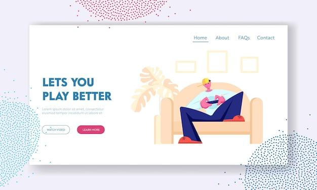 Teen sitzt auf dem sofa und spielt computerspiele auf der playstation-konsole. freizeit, spielsucht, freizeit, virtuelle realität, website-landingpage Premium Vektoren