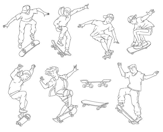 Teenager, die skateboardtricks tun - schwarzweiss-strichgrafiken-zeichnungssatz. teenager springen und stunts machen - Premium Vektoren