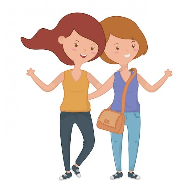 Teenager freundinnen Kostenlosen Vektoren