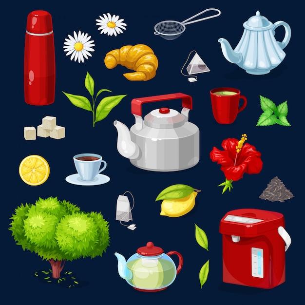 Teeobjekte isolierte symbole gesetzt. teekanne, tasse Premium Vektoren
