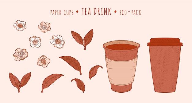 Teepflanze und pappbecher Premium Vektoren