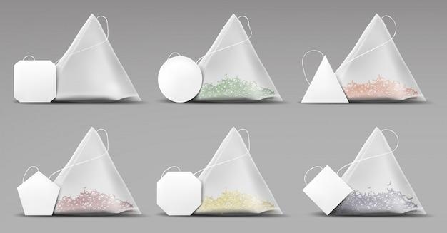 Teepyramidentaschen eingestellt lokalisiert auf grau Kostenlosen Vektoren
