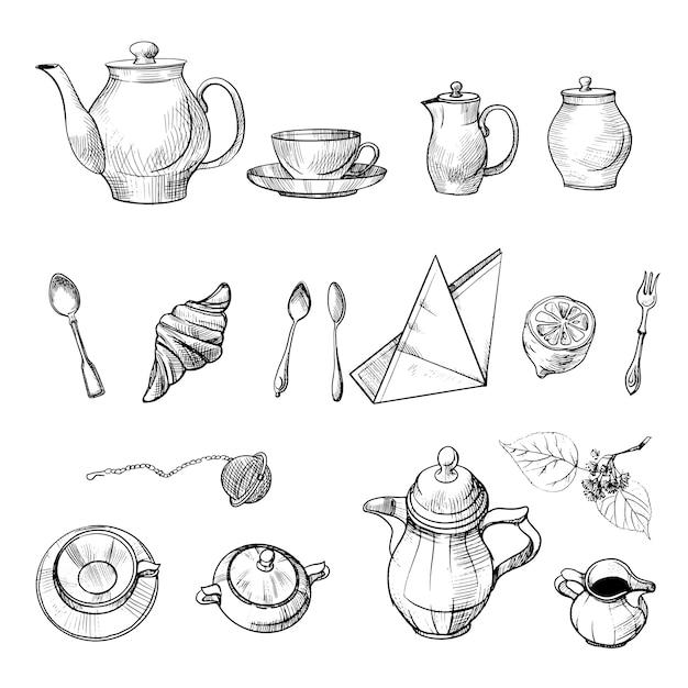 Teeset oben und seitlich gezeichnet und tee-attribute. skizze und aquarellillustration Premium Vektoren