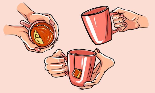 Teetasse illustration. satz tassen tee mit den händen. isolierte bilder. Premium Vektoren