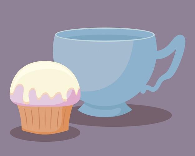 Teetasse mit süßem cupcake Premium Vektoren