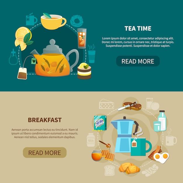 Teezeit und frühstücksbanner Kostenlosen Vektoren
