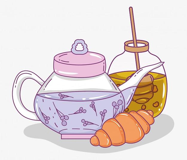 Teezeitskizze flach Premium Vektoren