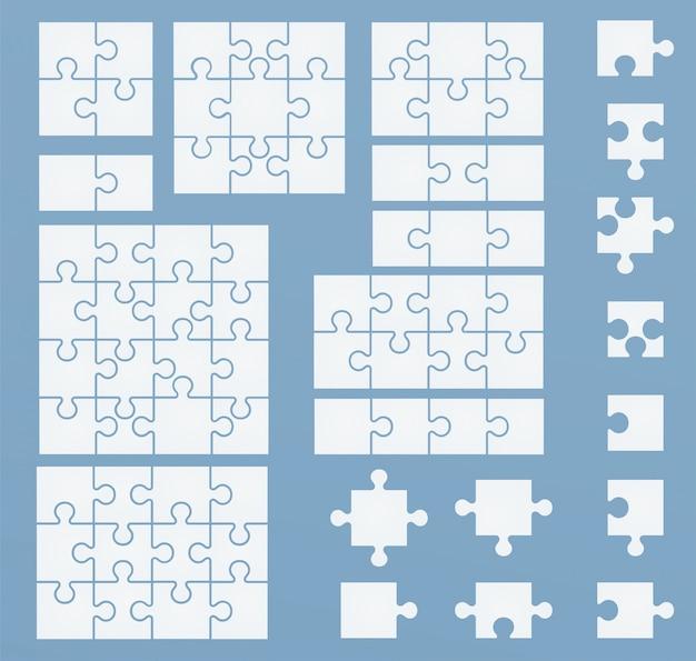 Teile von puzzlespielen auf blauer schablone. puzzlesatz 2, 3, 4, 6, 8, 9, 12, 16 teile Premium Vektoren