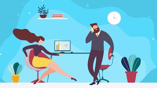 Teilen der coworking-büroraum-flachen illustration Premium Vektoren