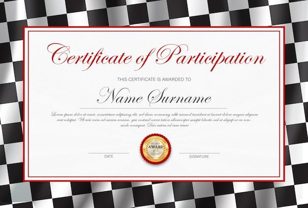 Teilnahmebescheinigung, diplomvorlage mit schwarz-weiß karierter rallye-flagge. Premium Vektoren