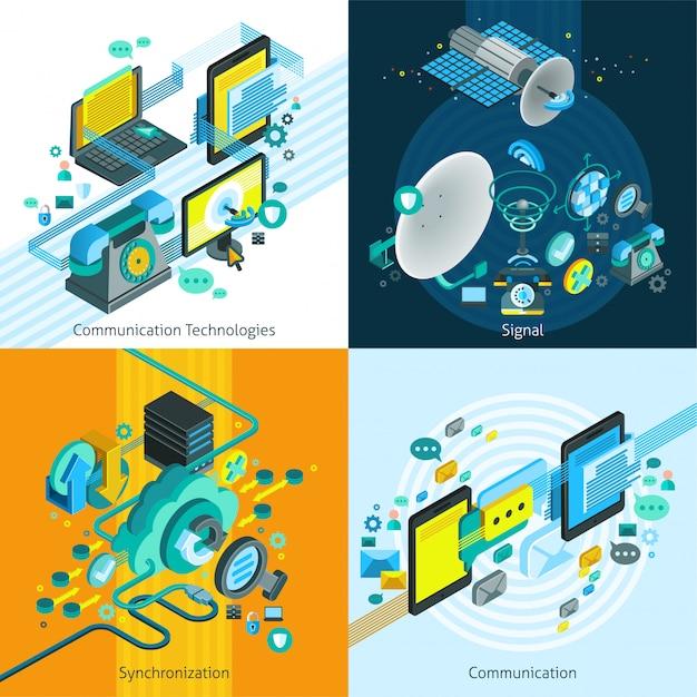 Telecom isometric 2x2 design concept Kostenlosen Vektoren
