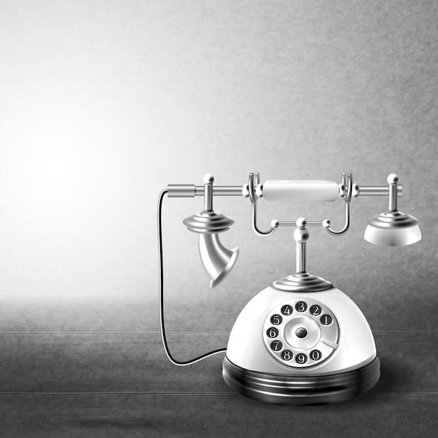 Telefon alt schwarz und weiß Premium Vektoren