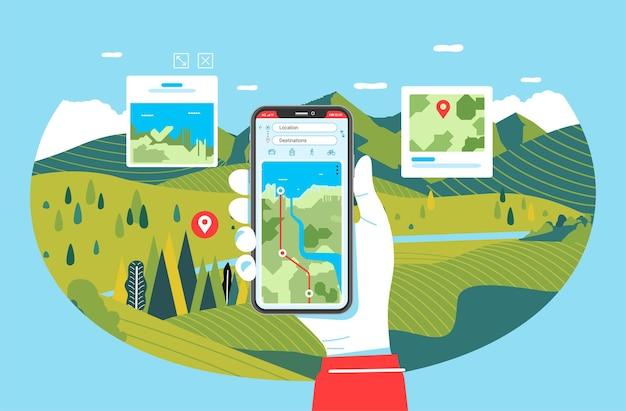 Telefon-app für reisen und wandern, handillustration, die telefon mit naturlandschaft im hintergrund hält. u Premium Vektoren